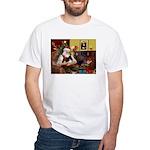 Santa's Pomeranian (bw) White T-Shirt