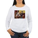 Santa's Pomeranian (bw) Women's Long Sleeve T-Shir
