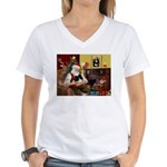 Santa's Pomeranian (bw) Women's V-Neck T-Shirt