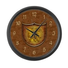 Copper Dragon Shield Large Wall Clock