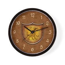Copper Dragon Shield Wall Clock