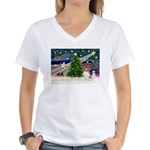 Xmas Magic Papillon (f) Women's V-Neck T-Shirt