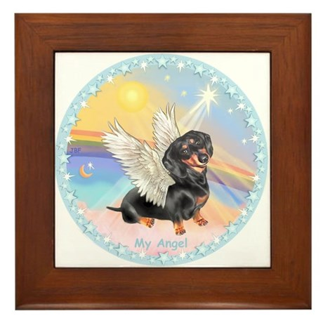 Clouds/Dachshund Angel Framed Tile
