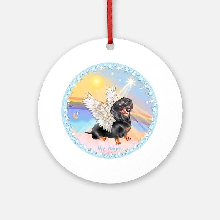 Clouds/Dachshund Angel Ornament (Round)