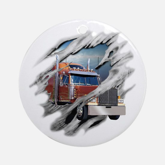 Torn Trucker Ornament (Round)