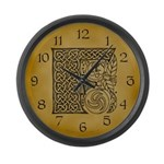 Celtic Letter F Large Wall Clock