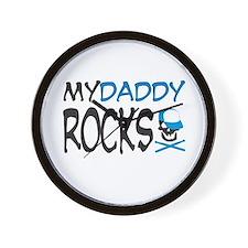 my daddy rocks! (blue) Wall Clock