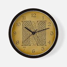 Celtic Letter N Wall Clock