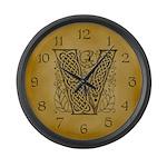 Celtic Letter V Large Wall Clock