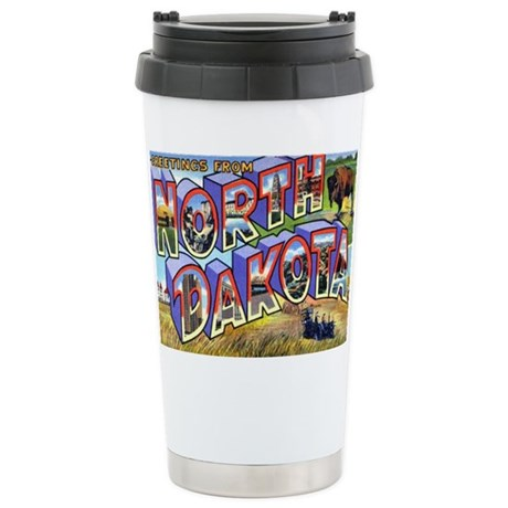 North Dakota Greetings Stainless Steel Travel Mug