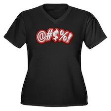Profanitype Women's Plus Size V-Neck Dark T-Shirt