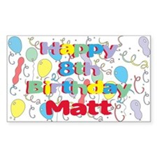 Matt's 8th Birthday Rectangle Decal