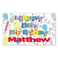 Matthew's 8th Birthday Rectangle Decal
