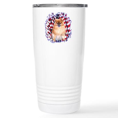 Pomeranian Patriotic Stainless Steel Travel Mug