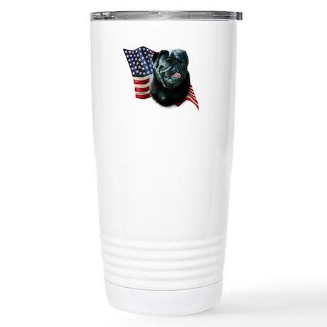 Pug (Blk) Flag Stainless Steel Travel Mug