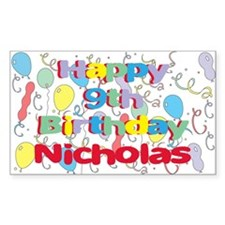 Nicholas's 9th Birthday Rectangle Decal
