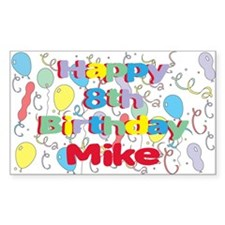 Mike's 8th Birthday Rectangle Decal