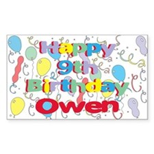 Owen's 9th Birthday Rectangle Decal