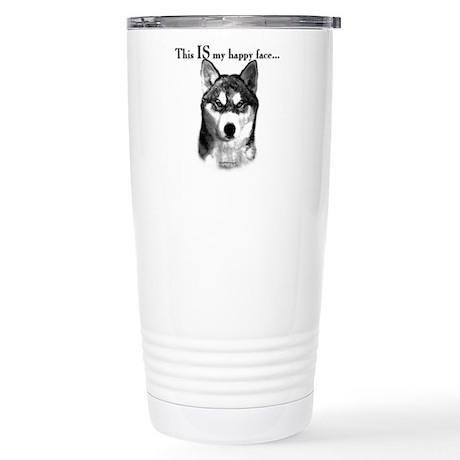 Husky Happy Face Stainless Steel Travel Mug