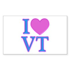 I Love VT Rectangle Decal