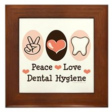 Peace Love Dental Hygiene Framed Tile