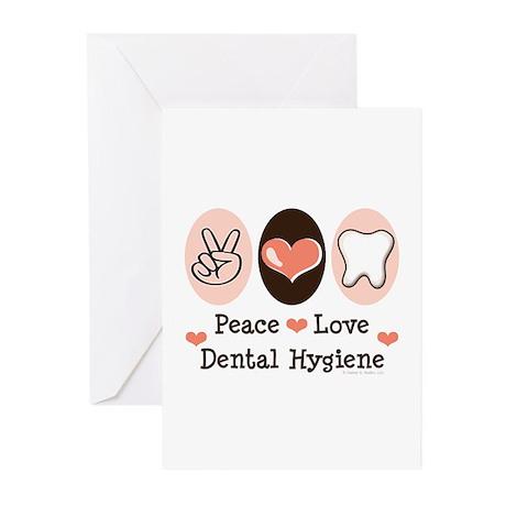 Peace Love Dental Hygiene Greeting Cards (Pk of 10