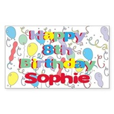Sophie's 8th Birthday Rectangle Decal