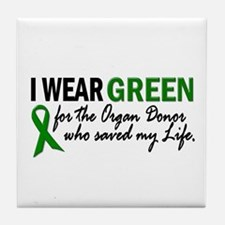I Wear Green 2 (Saved My Life) Tile Coaster