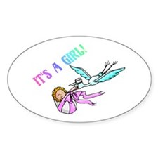 It's A Girl (Stork) Oval Decal