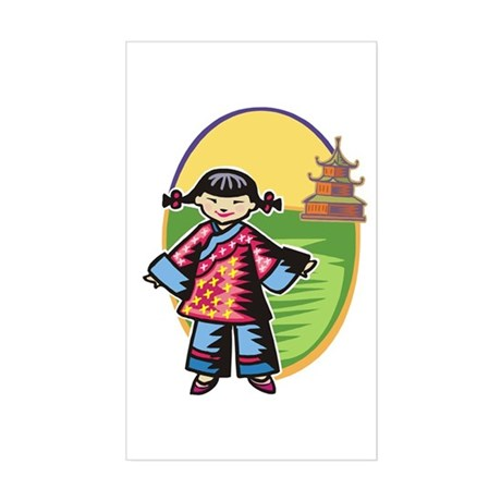 Chinese Girl Rectangle Sticker