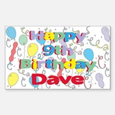 Dave's 9th Birthday Rectangle Decal