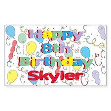 Skyler's 8th Birthday Rectangle Decal