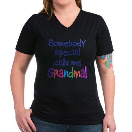 SOMEBODY SPECIAL CALLS ME GRANDMA! Women's V-Neck