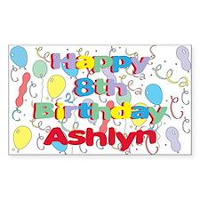 Ashlyn's 8th Birthday Rectangle Decal
