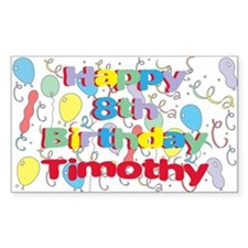 Timothy's 8th Birthday Rectangle Decal