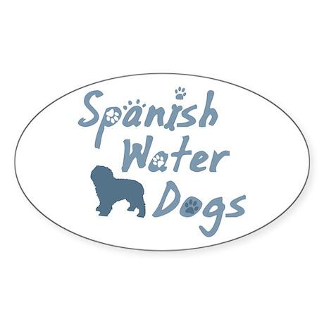 Baby Blue Spanish Water Dog Oval Sticker