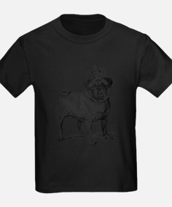 Vintage Fawn Pug with Crown Illustra T-Shirt