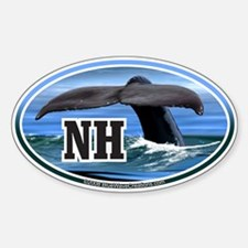NH New Hampshire Whale Tail Decal Oval Decal