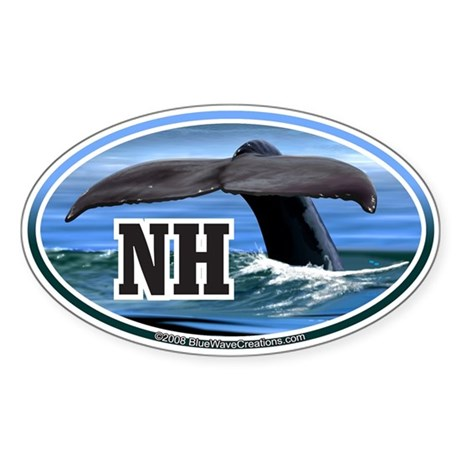 NH New Hampshire Whale Tail Decal Oval Sticker