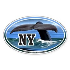 NY New York Whale Tail Fluke Decal Oval Decal