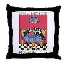 Boston Buddies Boston Tea Par Throw Pillow