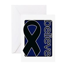Navy Blue (Believe) Ribbon Greeting Card