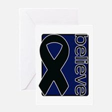 Navy Blue (Believe) Ribbon Greeting Card