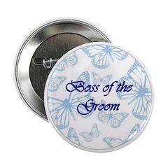 Boss of the Groom Blue Butterflies Button
