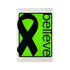 Lime Green (Believe) Ribbon Rectangle Magnet