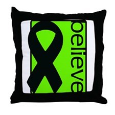 Lime Green (Believe) Ribbon Throw Pillow