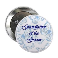 Grandfather of the Groom Blue Butterflies Button
