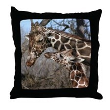 Giraffe Mom and Kid Throw Pillow
