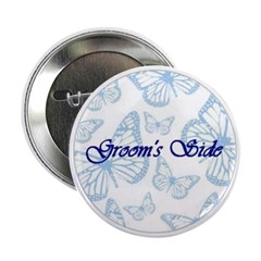 Groom's Side Blue Butterflies Button