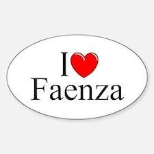 """I Love (Heart) Faenza"" Oval Decal"
